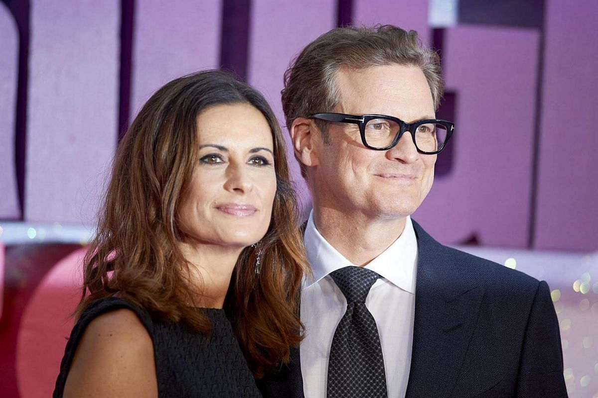 British actor Colin Firth (right) and his wife Livia Giuggioli pose on the red carpet as they arrive for the world premiere of Bridget Jones's Baby in Leicester Square, Central London, Britain, Sept 5 2016.