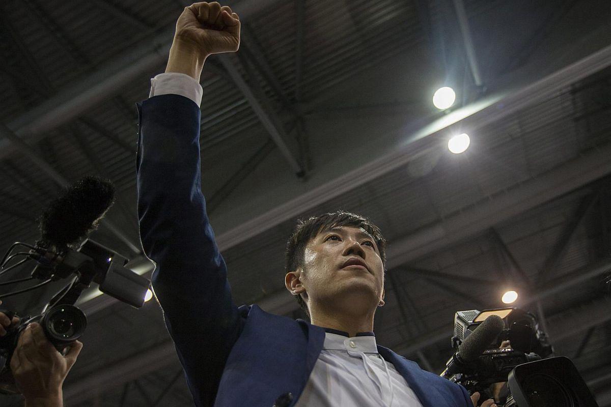 Hong Kong Legislative Council candidate Cheng Chung-tai of Civic Passion makes a speech to his supporters in Hong Kong's Legislative Council elections, Hong Kong, China on Sept 4, 2016.