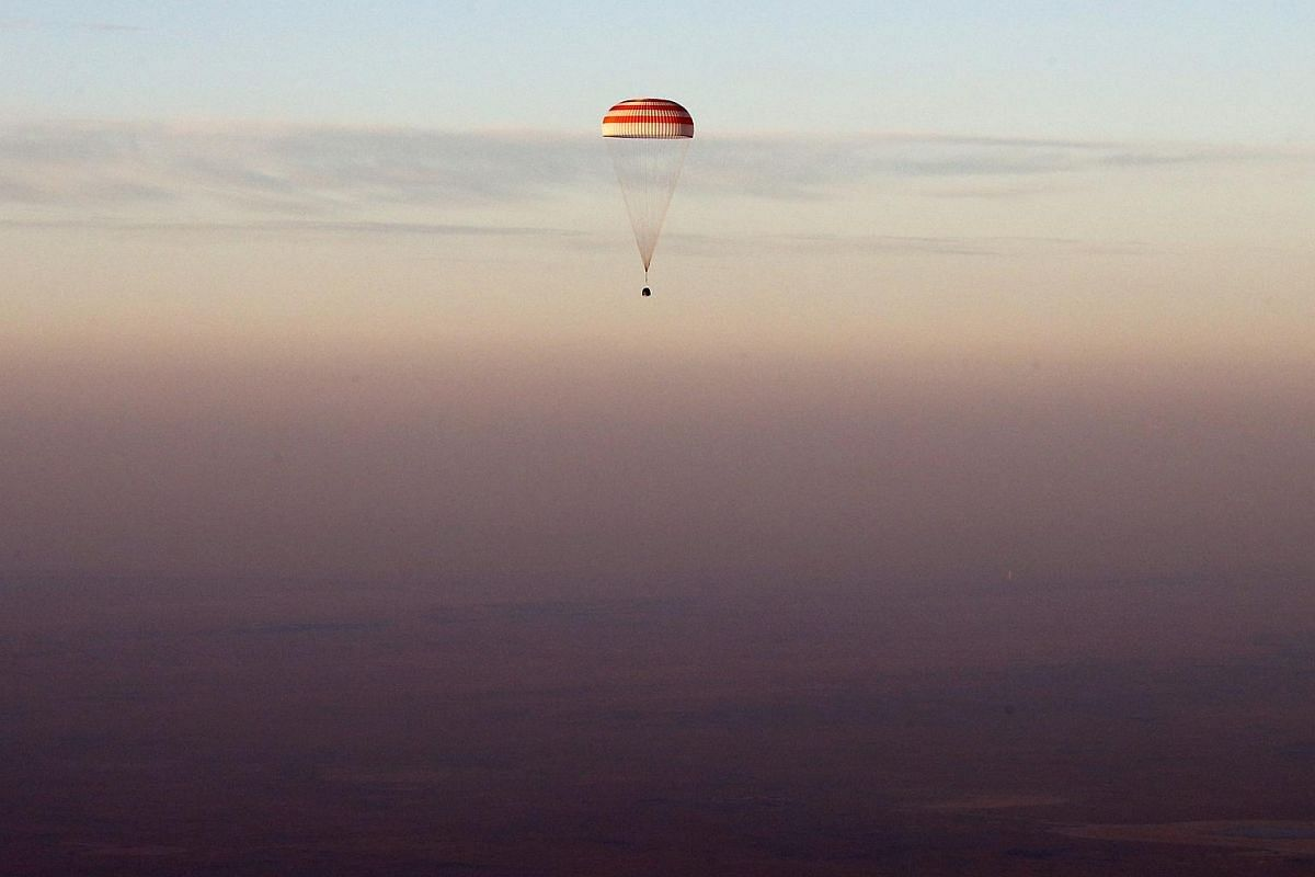 The landing module of the Russian Soyuz TMA-19M spacecraft carrying a crew of three from the International Space Station (ISS) about to touch down in Kazakhstan on Sept 7, 2016.
