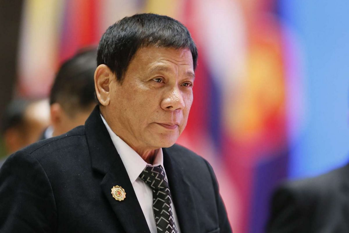 Philipinnes President Rodrigo Duterte arrives at the gala dinner of the 28th and 29th Asean Summits at the National Convention Centre in Vientiane, Laos, on Sept 7, 2016.