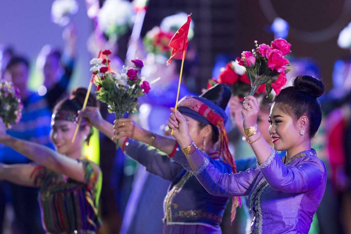 Dancers perform during the gala dinner at the 28th and 29th Asean Summits at the National Convention Centre in Vientiane, Laos, on Sept 7, 2016.
