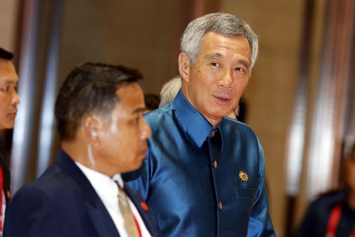Singapore's Prime Minister Lee Hsien Loong arrives at the gala dinner of the 28th and 29th Asean Summits at the National Convention Centre in Vientiane, Laos, on Sept 7, 2016.
