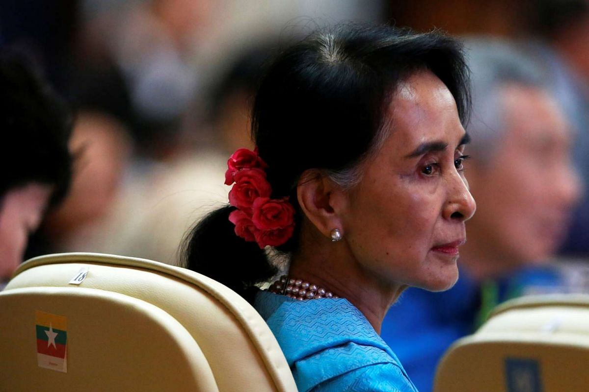 Myanmar leader Aung San Suu Kyi attends the gala dinner at the 28th and 29th Asean Summits at the National Convention Centre in Vientiane, Laos, on Sept 7, 2016.