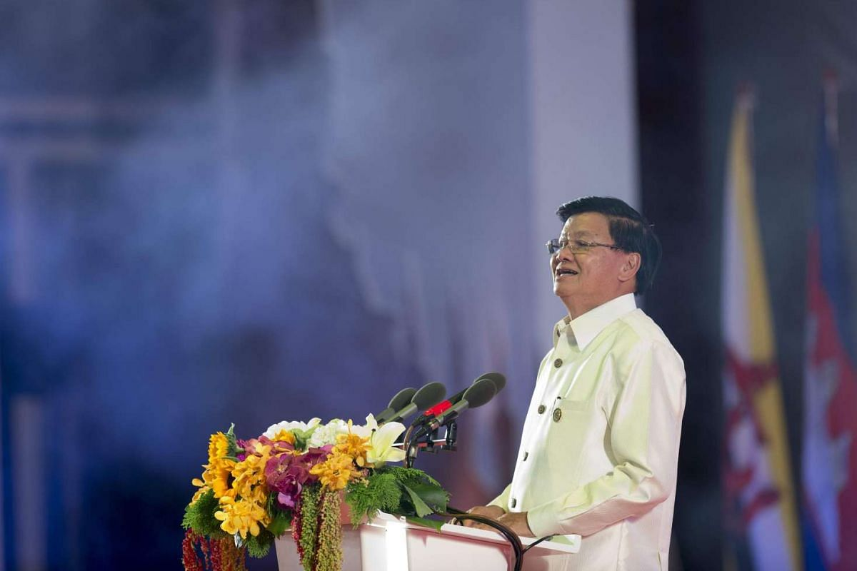 Prime Minister Thongloun Sisoulith of Laos speaks during the gala dinner at the 28th and 29th Asean Summits at the National Convention Centre in Vientiane, Laos, on Sept 7, 2016.