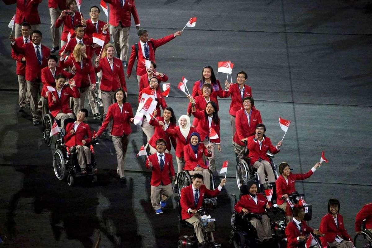 Athletes from Singapore take part in the opening ceremony of the Rio 2016 Paralympic Games at the Maracana Stadium in Rio de Janeiro, Brazil, on Sept 7, 2016.