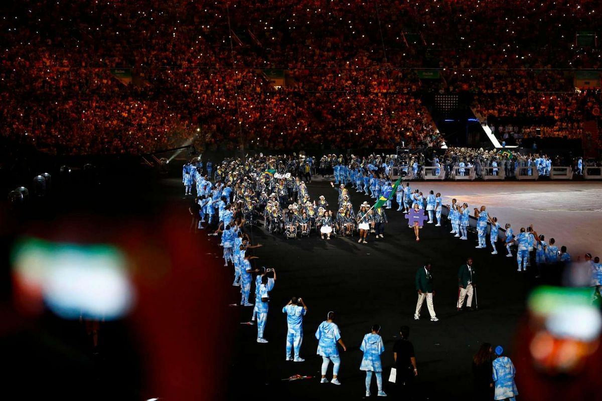 Athletes from Brazil take part in the opening ceremony of the Rio 2016 Paralympic Games at the Maracana Stadium in Rio de Janeiro, Brazil, on Sept 7, 2016.