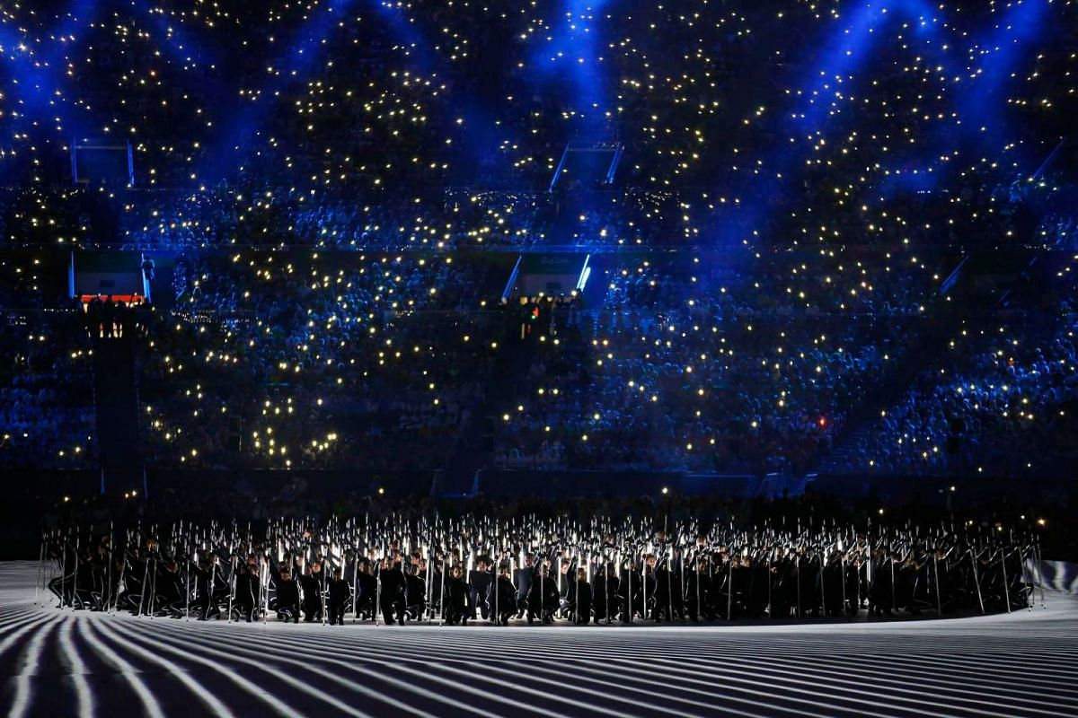 Performers take part in the opening ceremony of the Rio 2016 Paralympic Games at the Maracana Stadium in Rio de Janeiro, Brazil, on Sept 7, 2016.