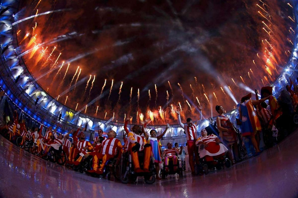 Fireworks erupt during the opening ceremony of the Rio 2016 Paralympic Games at the Maracana Stadium in Rio de Janeiro, Brazil, on Sept 7, 2016.
