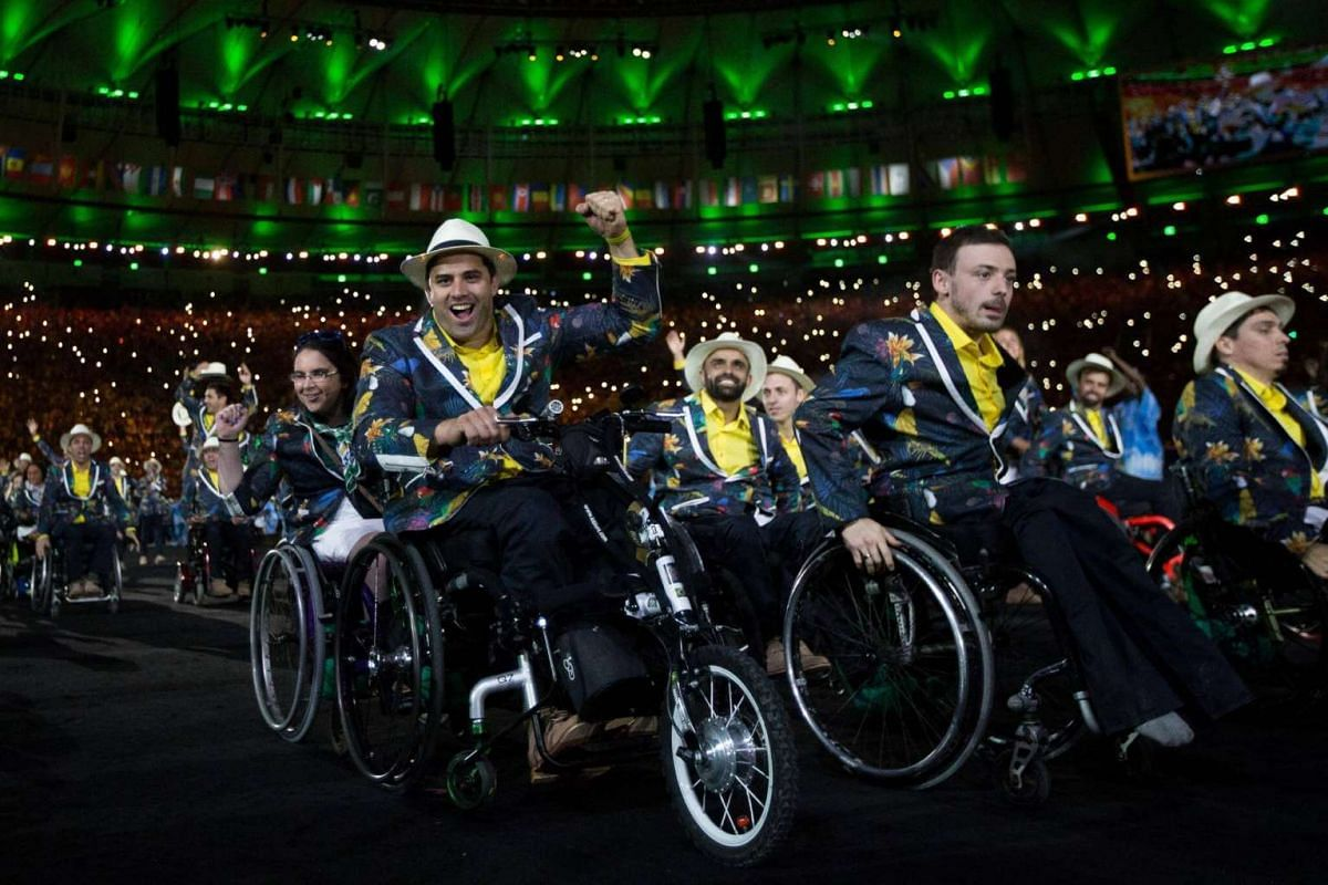 Members of the Brazilian athletic delegation participate in the opening ceremony of the Rio 2016 Paralympic Games at the Maracana Stadium in Rio de Janeiro, Brazil, on Sept 7, 2016.