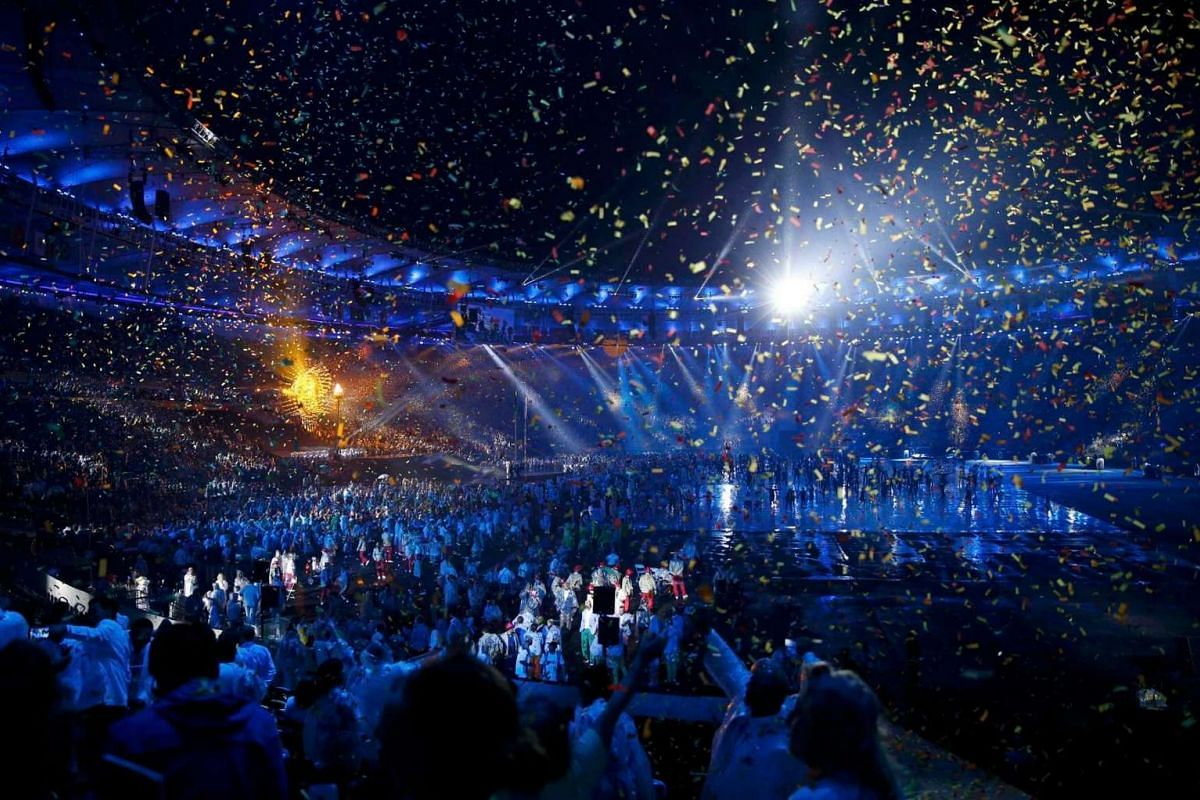 Confetti falls during the opening ceremony of the Rio 2016 Paralympic Games at the Maracana Stadium in Rio de Janeiro, Brazil, on Sept 7, 2016.