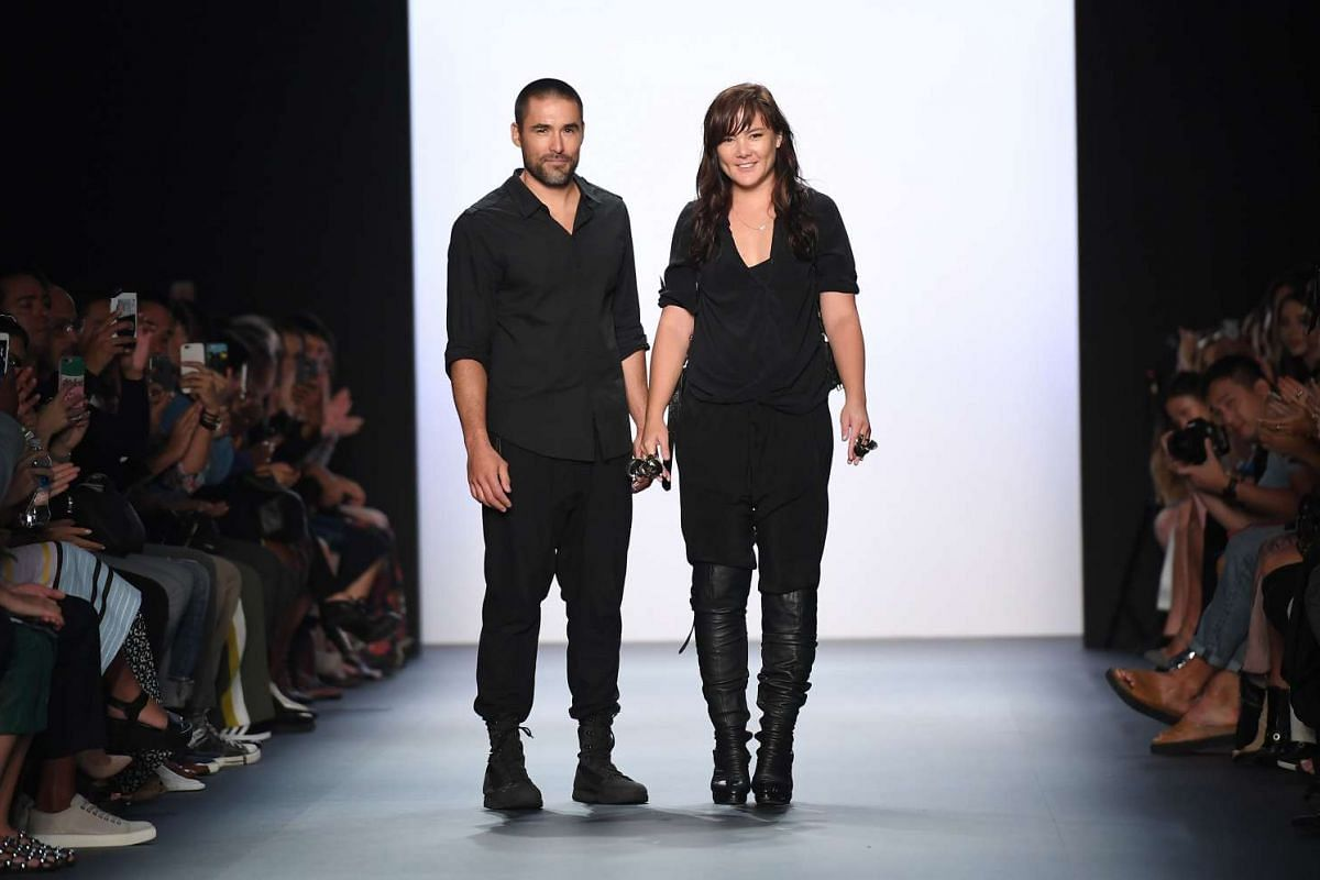 Designers Christopher Kunz and Nicholas Kunz walk the runway during the Nicholas K show at the New York Fashion Week on Sept 8, 2016.
