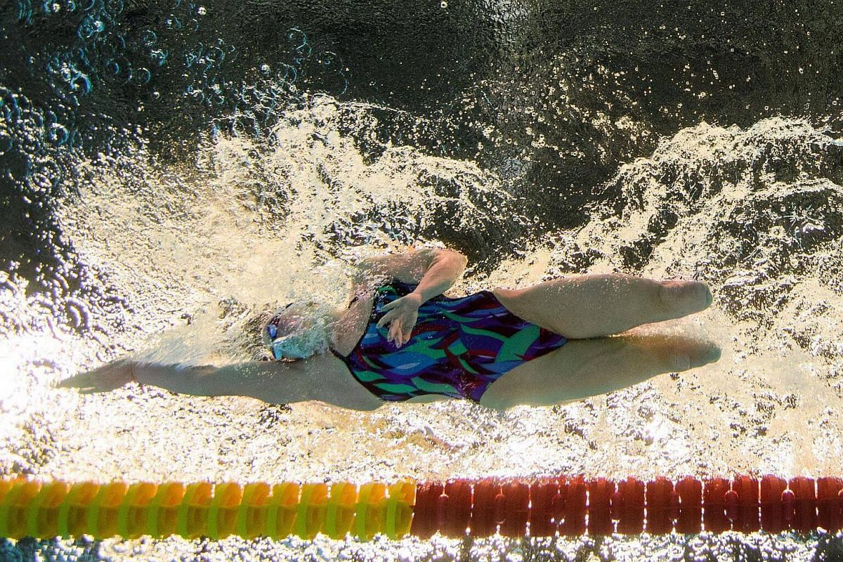 Jessica Long of the USA practises for the Women's 400m Freestyle S8 swimming event of the Rio 2016 Paralympics Games at the Olympic Aquatics Stadium in Rio de Janeiro, Brazil, on Sept 8, 2016.
