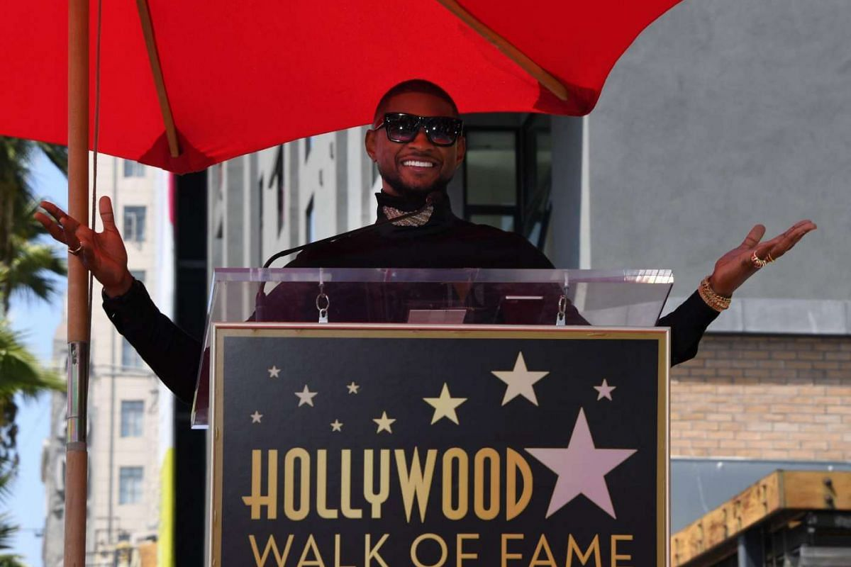 Singer Usher after he become the 2,588 entertainer to receive a Hollywood Walk of Fame star in Los Angeles, California, on Sept 7, 2016.