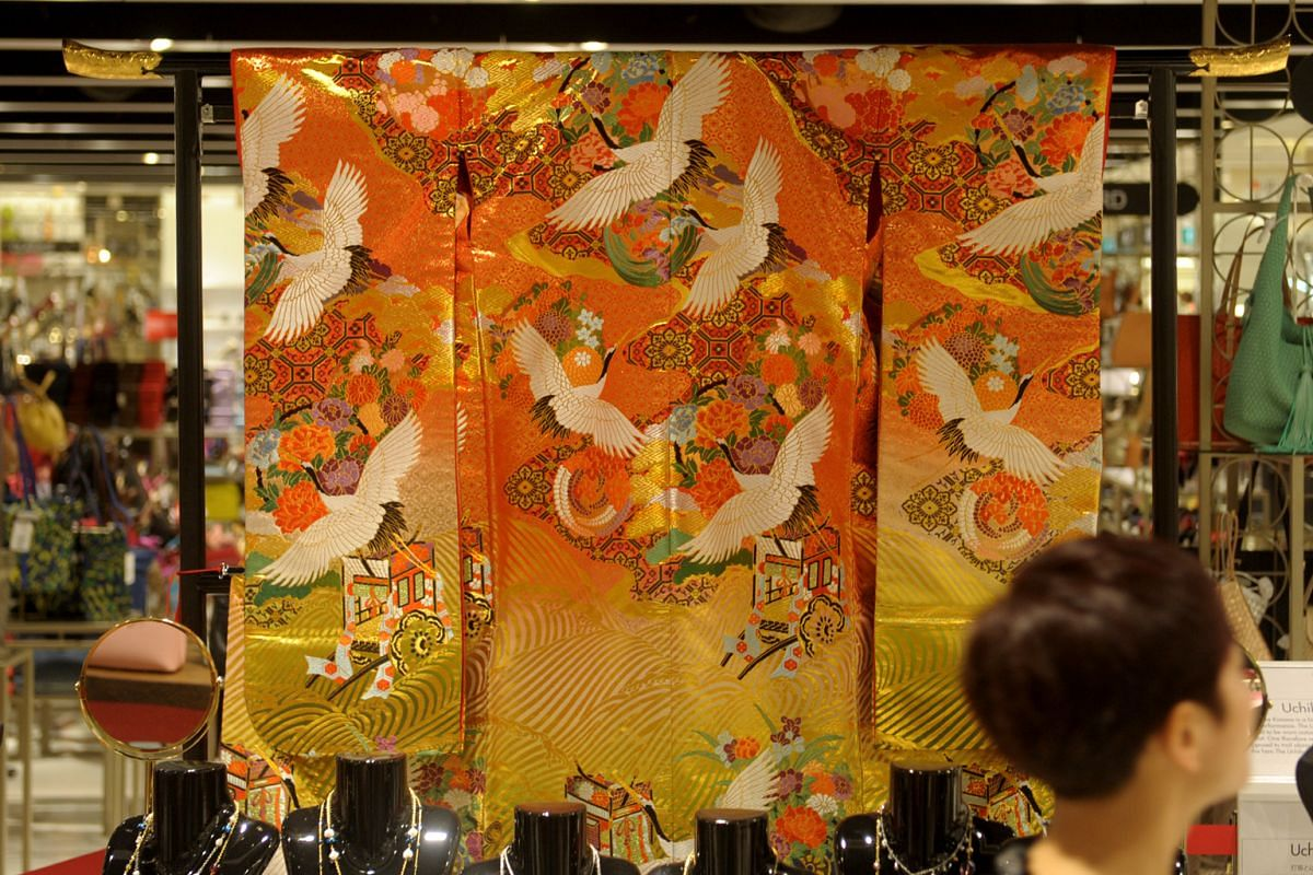 Only one piece of the Uchikake kimono (above) – a brocade bridal coat on top of another kimono – is up for grabs.