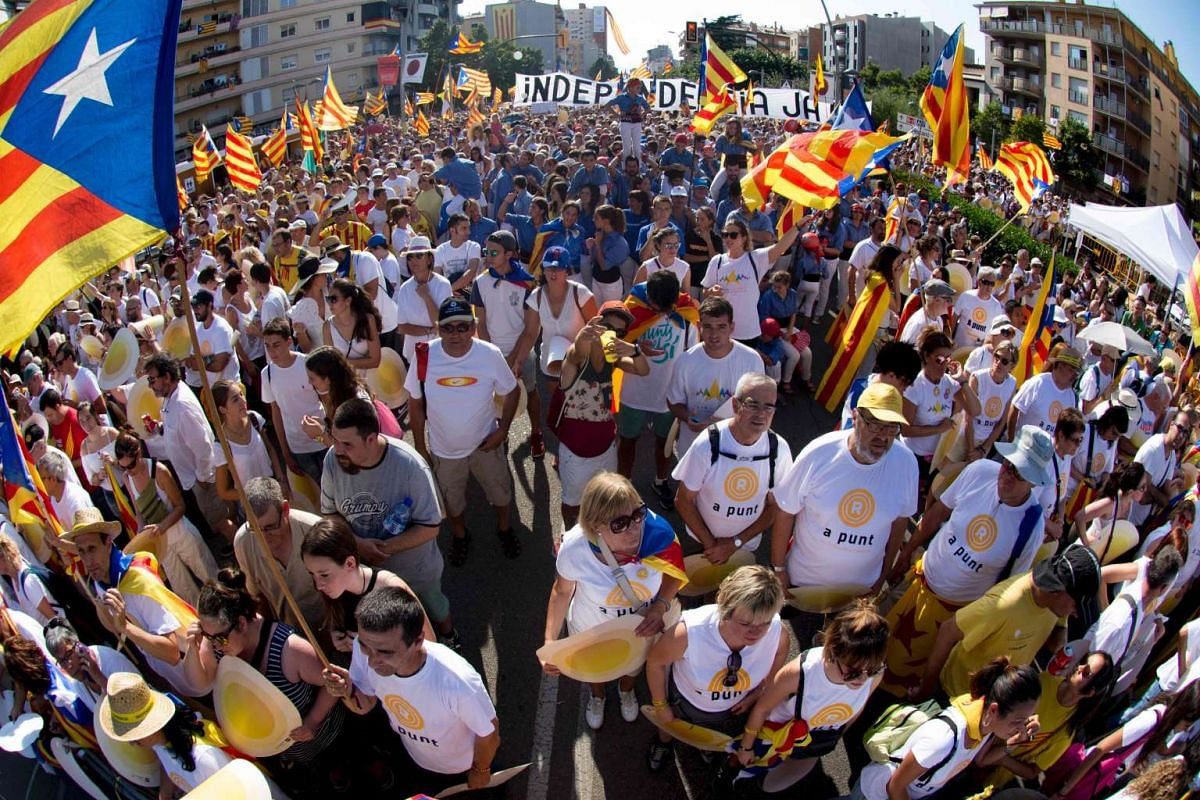 Hundreds of thousands gathered for a pro-independence demonstration, on Sept 11, 2016, in Barcelona during the National Day of Catalonia.