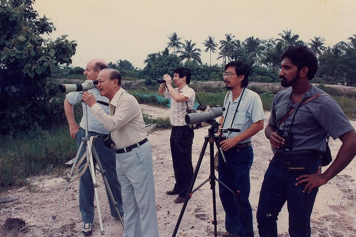 My life so far: The late president Wee Kim Wee (second from far left) visited Sungei Buloh in the late 1980s with members of the Nature Society (Singapore) (from right) Mr Subaraj Rajathurai, Dr Ho Hua Chew, Dr Rexon Ngim and Mr Richard Hale.