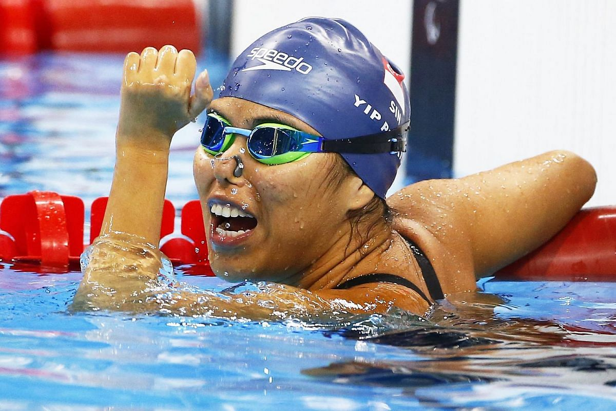 Singapore's Yip Pin Xiu celebrates winning the gold medal in the women's 100m backstroke S2 final at the Olympic Aquatics Stadium during the Rio 2016 Paralympic Games on Sept 9, 2016.
