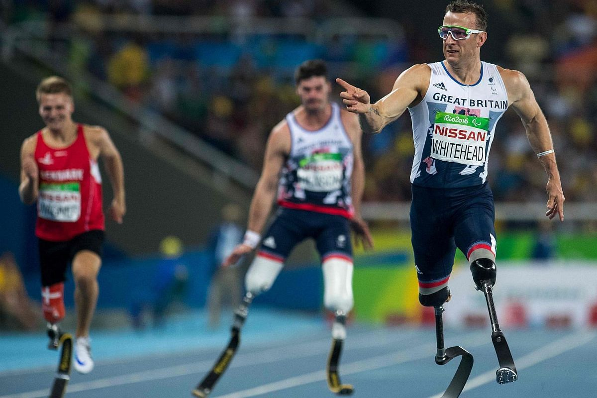 Britain's Richard Whitehead setting a new Paralympic Record and winning the gold medal in the Men's 200m T42 final in the Olympic Stadium, during the Rio 2016 Paralympic Games on Sept 11, 2016.