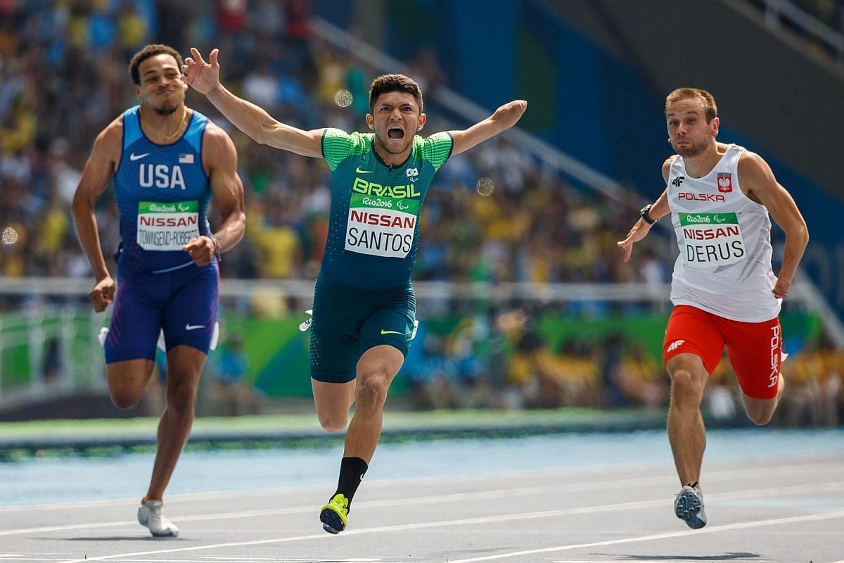 Brazil's Petrucio Ferreira dos Santos takes the gold medal in the men's 100m T47 final in the Olympic Stadium during the Rio 2016 Paralympic Games on Sept 11, 2016.