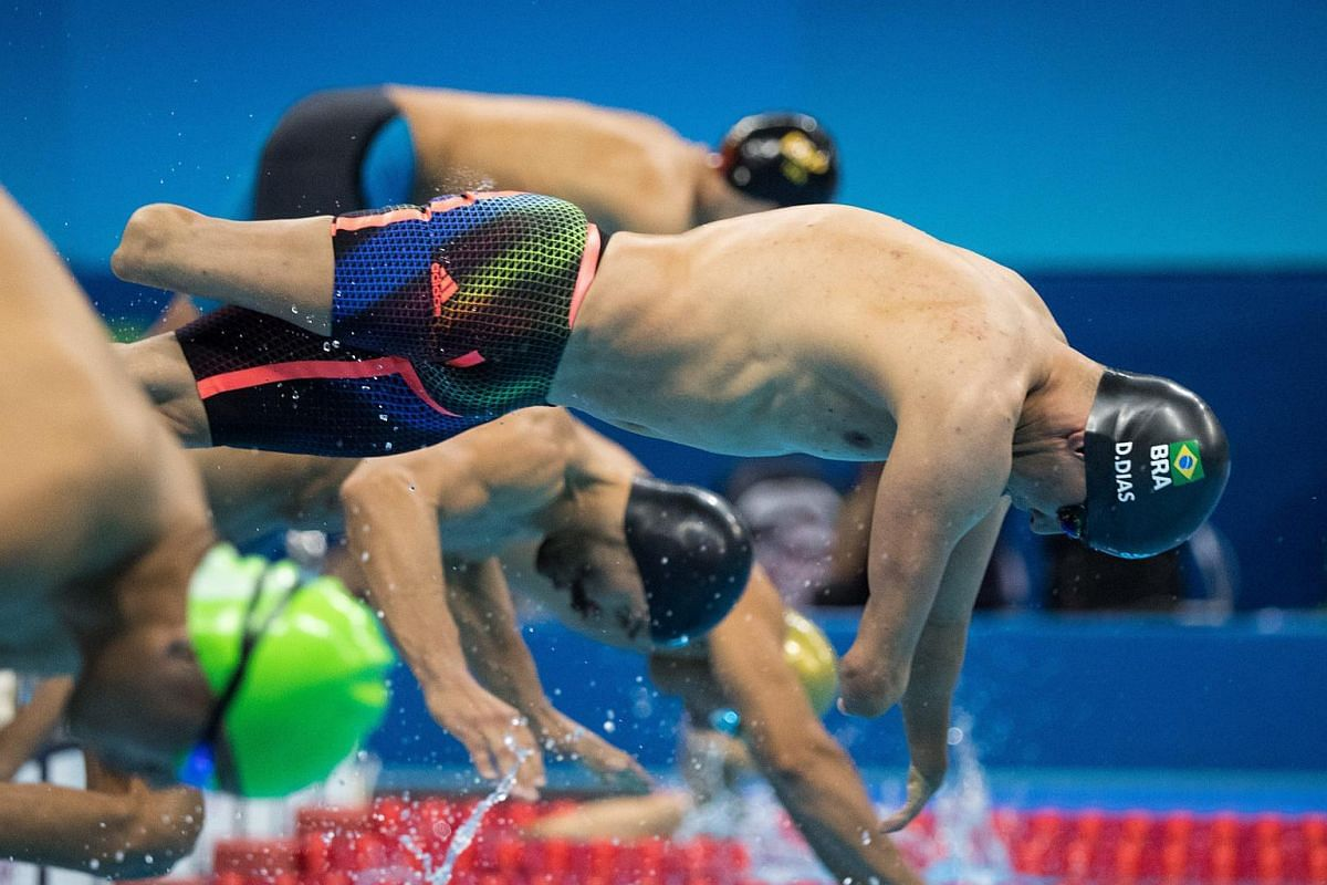 Daniel Dias of Brazil competing in the men's 100m breaststroke SB4 final during the Rio 2016 Paralympic Games at the Olympic Aquatics Stadium on Sept 11, 2016.