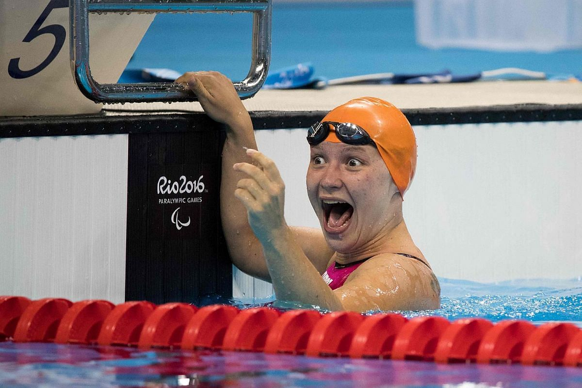Ukraine's Yelyzaveta Mereshko wins the Women's 100m Breaststroke - SB5 Final at the Olympic Aquatics Stadium during Rio 2016 Paralympic Games at the Olympic stadium on Sept 11, 2016.