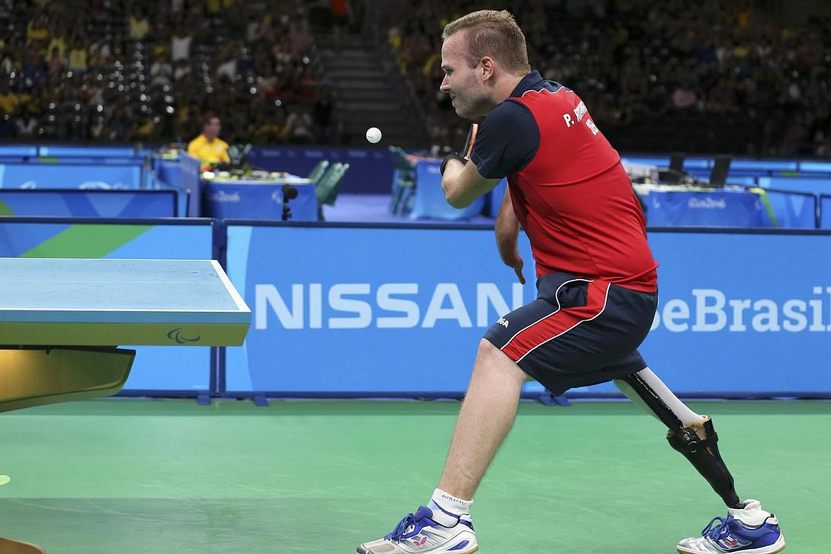 Peter Rosenmeier of Denmark competes in the men's singles Class 6 gold medal final during Rio 2016 Paralympic Games at the Olympic stadium on Sept 11, 2016.