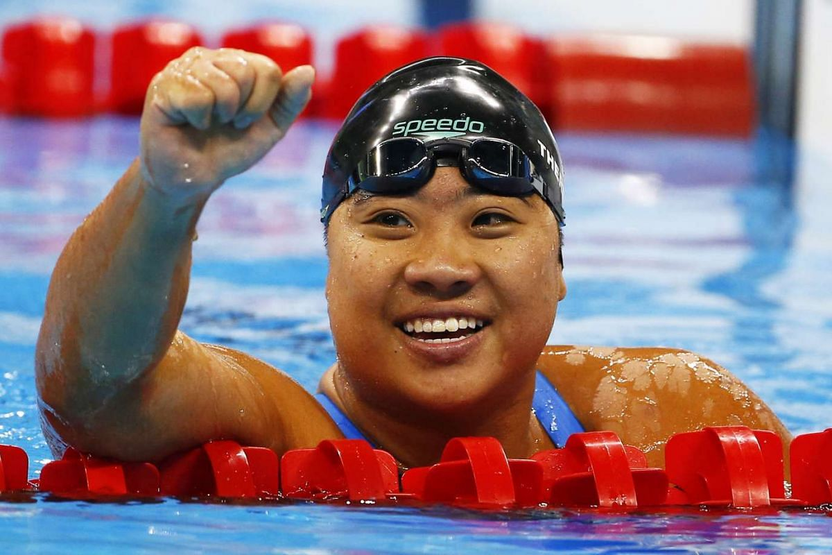 Swimmer Theresa Goh celebrates after winning the bronze medal in the 100m breaststroke SB4 final at the Paralympics in Rio de Janeiro on Sept 11, 2016.