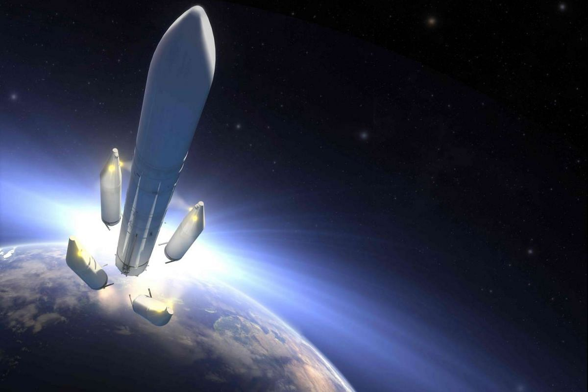 A handout image released on September 13, 2016, shows an artist view of the future Ariane 6. The European Space Agency (ESA) announced that the Ariane 6 program will continue with a first launch planned for 2020. PHOTO: AFP/AIRBUS SAFRAN LAUNCHERS HO