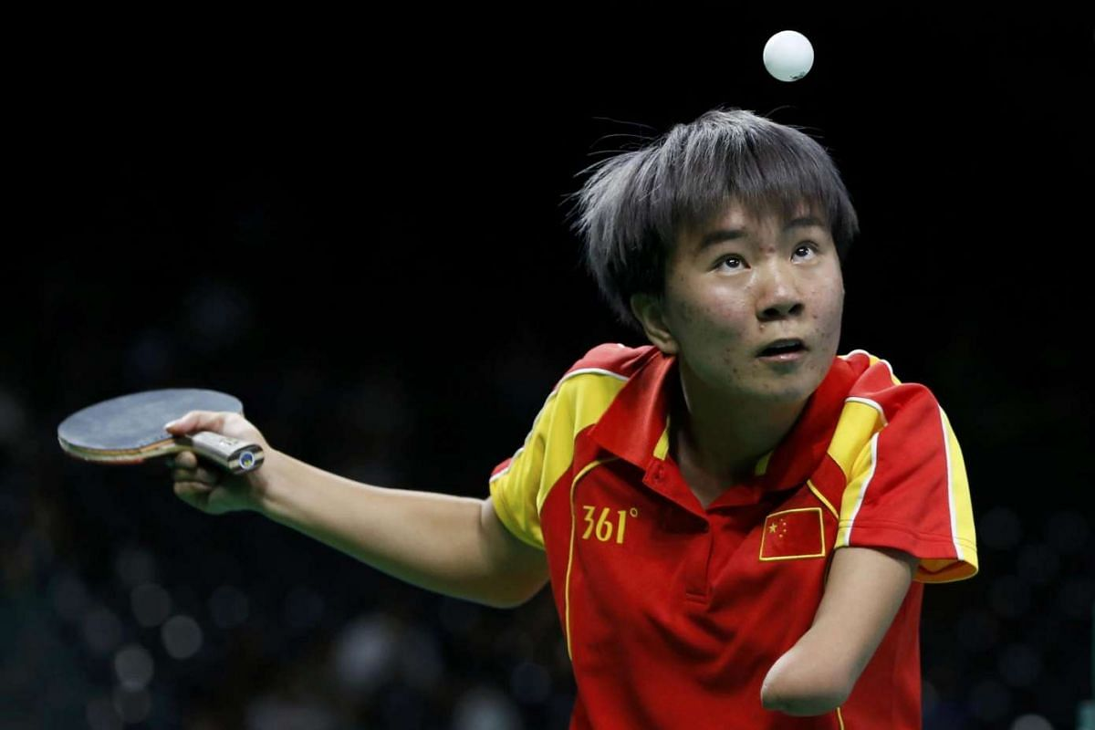 Yang Quian of China competes during the women's singles class 10 gold medal match final on Sept 13, 2016.