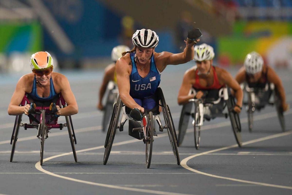 USA's Tatyana McFadden jubilates after winning the women's 1500m race at the Olympic Stadium during the Rio 2016 Paralympic Games on Sept 13, 2016.