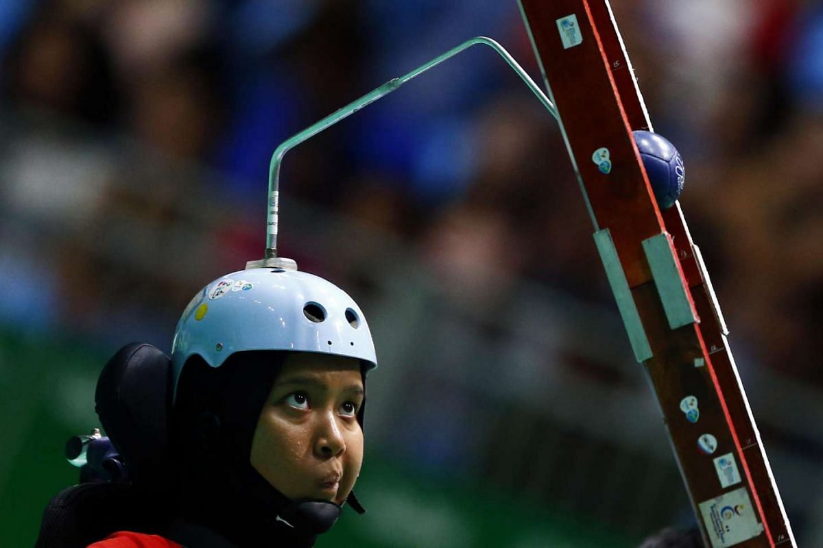 Nurulasyiqah Mohammad Taha of Singapore competes during the boccia final on Sept 13, 2016.