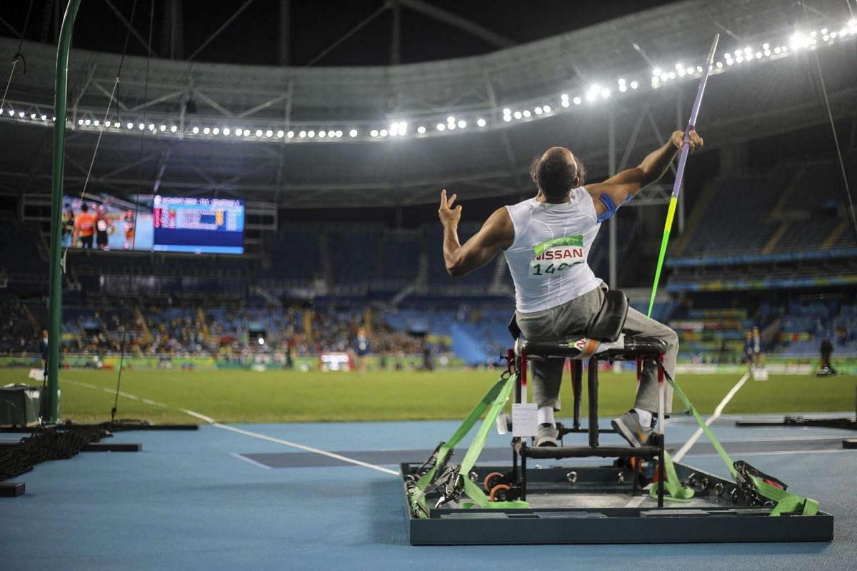Egyptian athlete Ramadan El Attar takes part in the men's javelin throw competition at the Rio 2016 Paralympic Games on Sept 12, 2016.