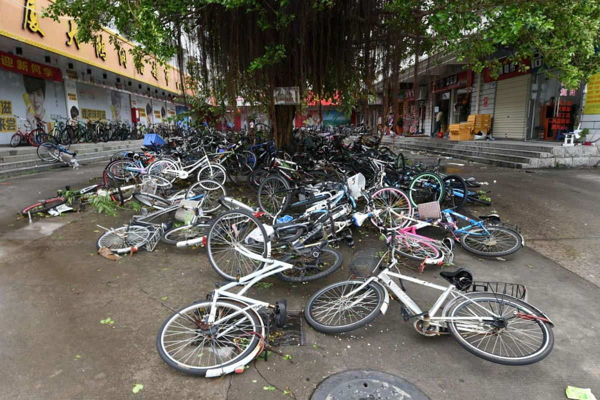 Toppled bicycles lie on the street after Typhoon Meranti makes a landfall on southeastern China, in Xiamen, Fujian province, China, on Sept 15, 2016.