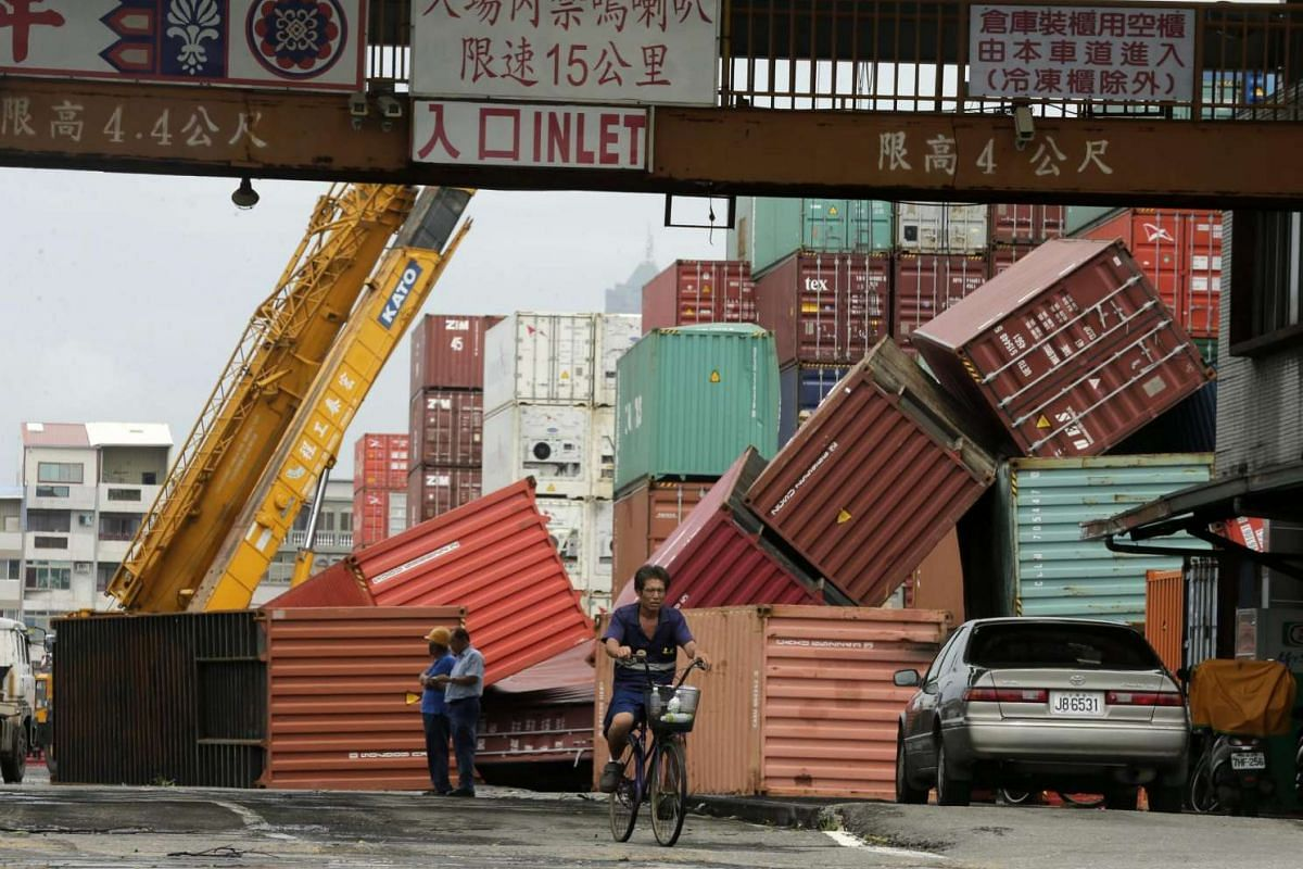 Fallen cargo containers caused by Typhoon Meranti in Kaohsiung city, southern Taiwan, on Sept 15, 2016.