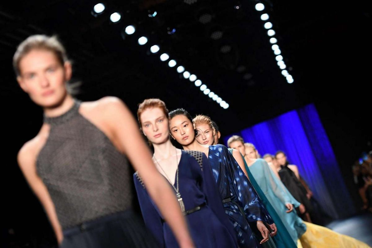 Models display the fashion of Oday Shakar during New York Fashion Week on Sept 9, 2016.