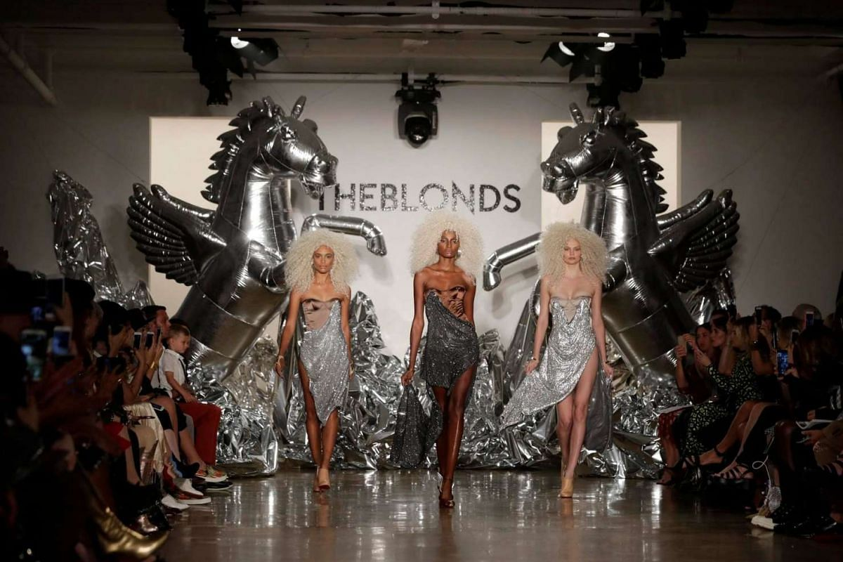 Models present creations by The Blonds at New York Fashion Week on Sept 11, 2016.