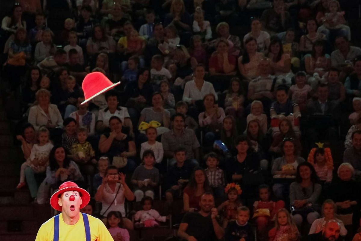 A clown performs during The Extreme Arena at the National Circus in Kiev, Ukraine on Sept 15, 2016.