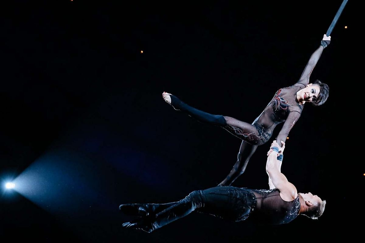 Artists perform during the presentation of the new international show The Extreme Arena at the National Circus in Kiev, Ukraine on Sept 15, 2016.
