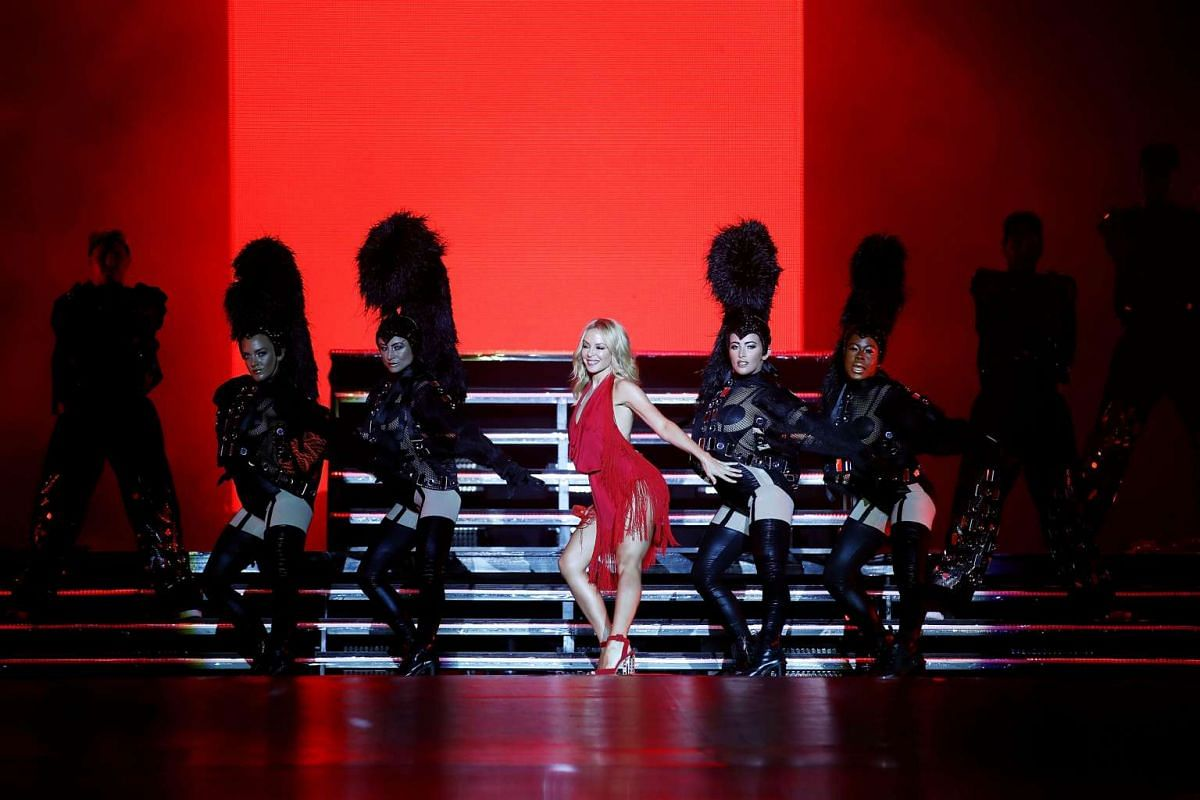 Kylie Minogue performs on stage during day one of the 2016 Formula One Singapore Airlines Singapore Grand Prix at Marina Bay Street Circuit on Sept 16, 2016.