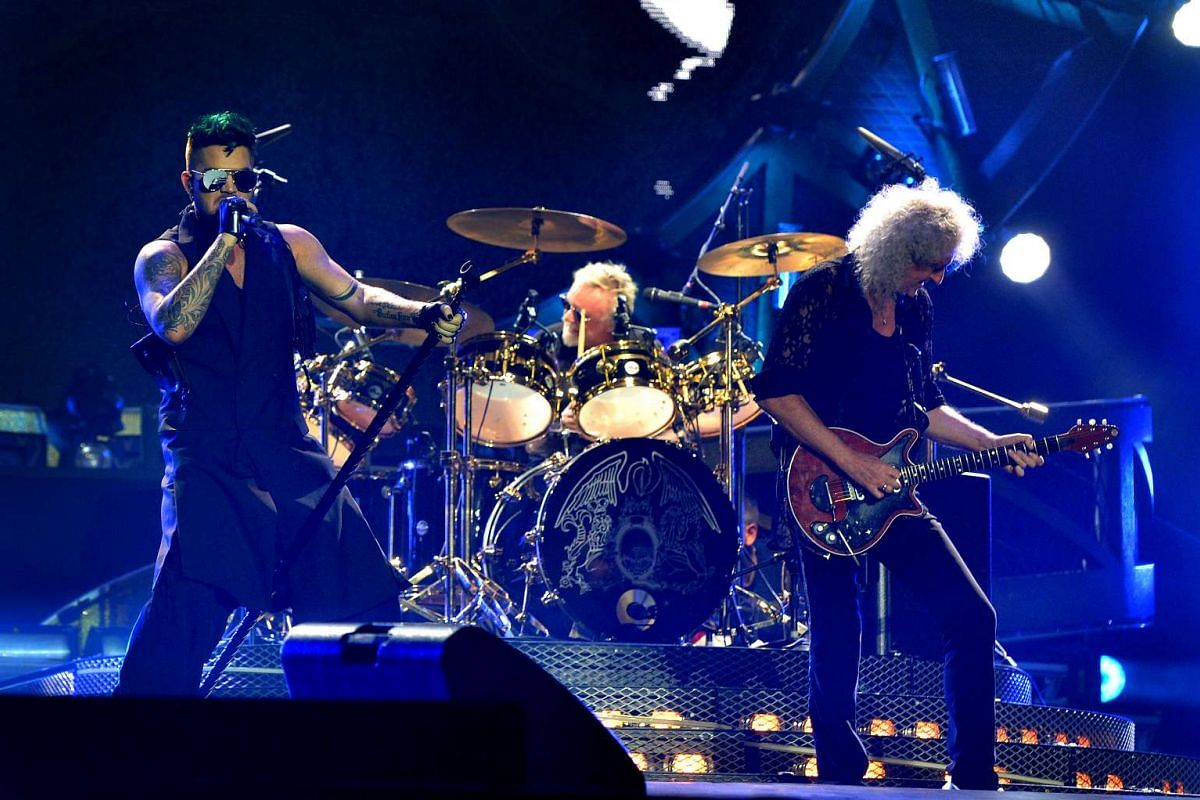 Queen + Adam Lambert perform at the Padang stage during the 2016 Formula One Singapore Airlines Singapore Grand Prix on Sept 17, 2016.