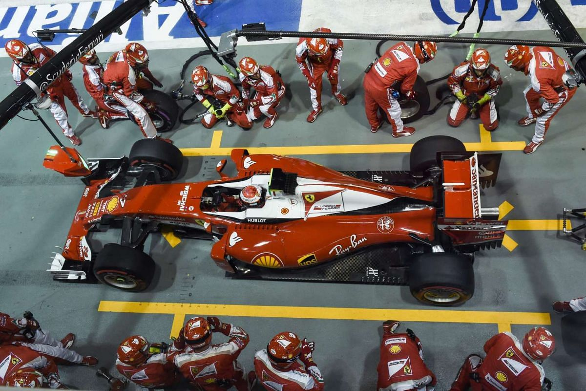 Finnish driver Kimi Raikkonen leaves the pit during the 2016 Formula One Singapore Airlines Singapore Grand Prix on Sept 18, 2016.