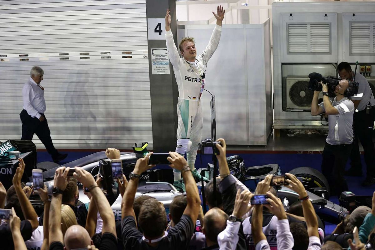 Nico Rosberg of Germany celebrates after winning the night race of the 2016 Formula One Singapore Airlines Singapore Grand Prix at the Marina Bay Street Circuit on Sept 18, 2016.