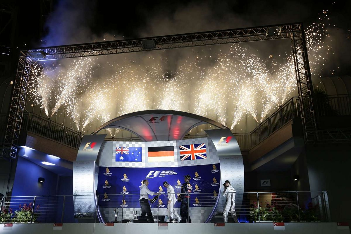 A display of fireworks after the trophy ceremony of the 2016 Formula One Singapore Airlines Singapore Grand Prix at the Marina Bay Street Circuit on Sept 18, 2016.