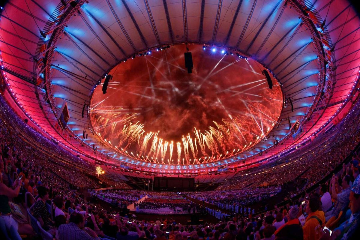 Fireworks are set off over the stadium roof during the closing ceremony of the Rio 2016 Paralympic Games at the Maracana Stadium in Rio de Janeiro, Brazil on Sept 18, 2016.