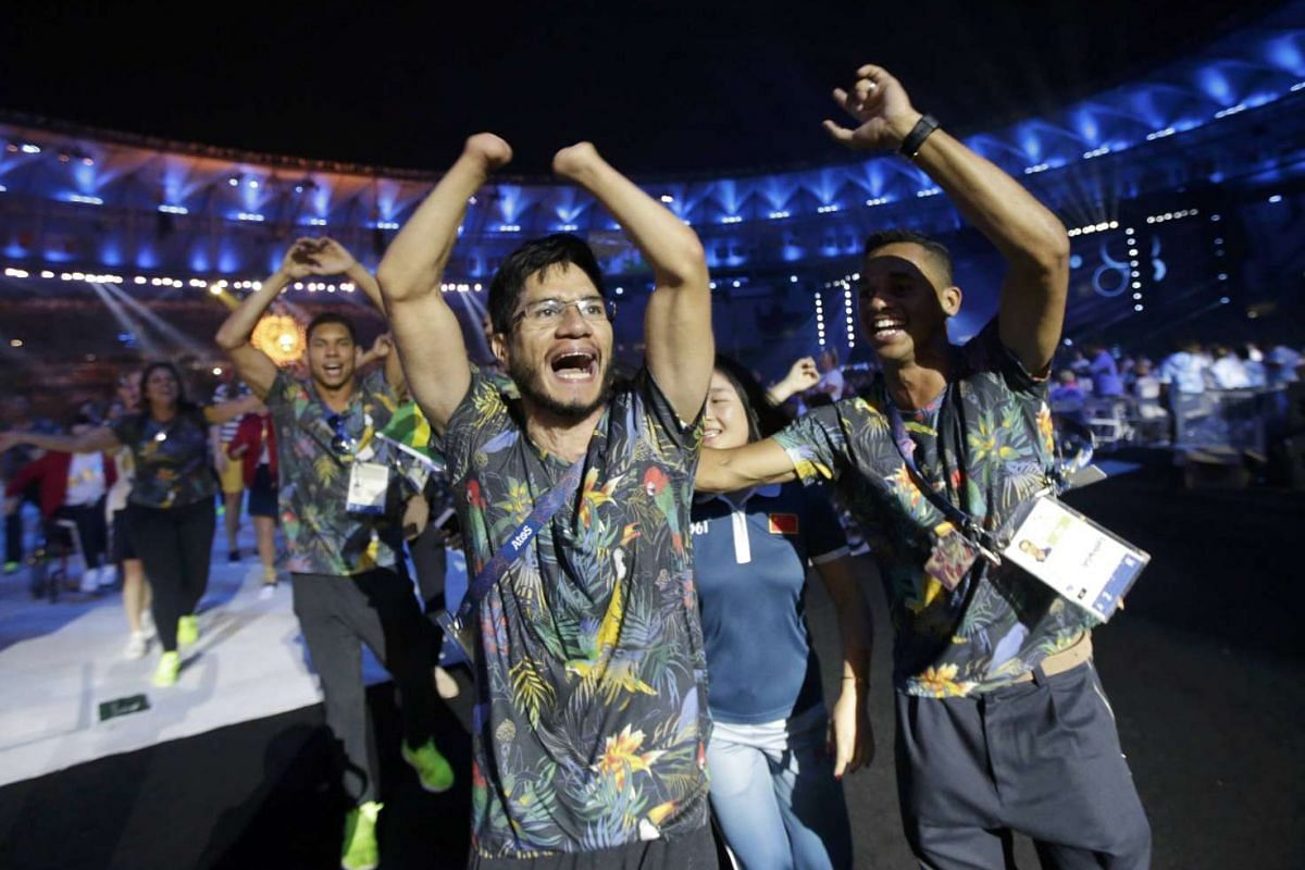 Brazilian athletes take part in the closing ceremony of the Rio 2016 Paralympic Games at the Maracana Stadium in Rio de Janeiro, Brazil on Sept 18, 2016.