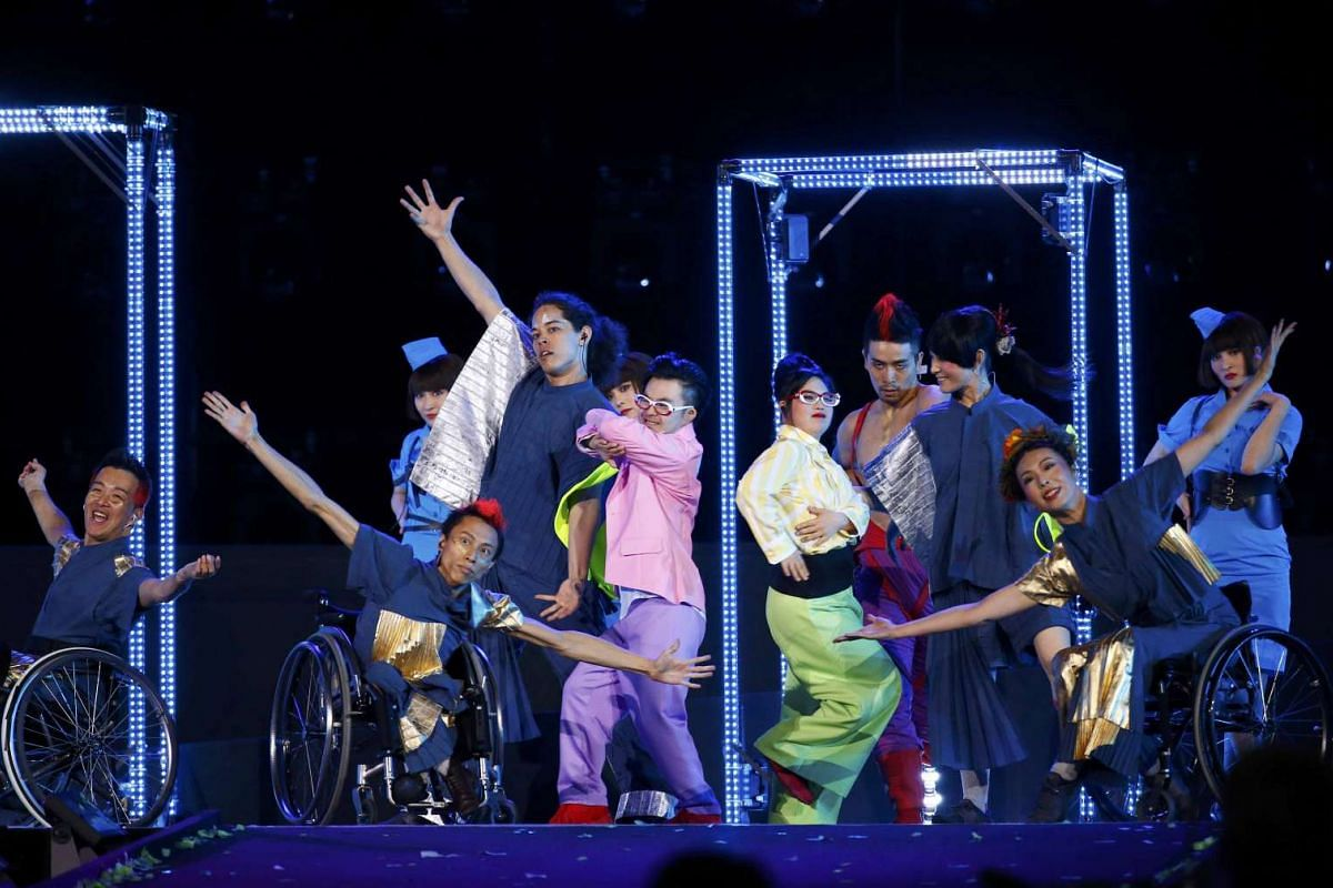 Performers at the closing ceremony of the Rio 2016 Paralympic Games at the Maracana Stadium in Rio de Janeiro, Brazil on Sept 18, 2016.
