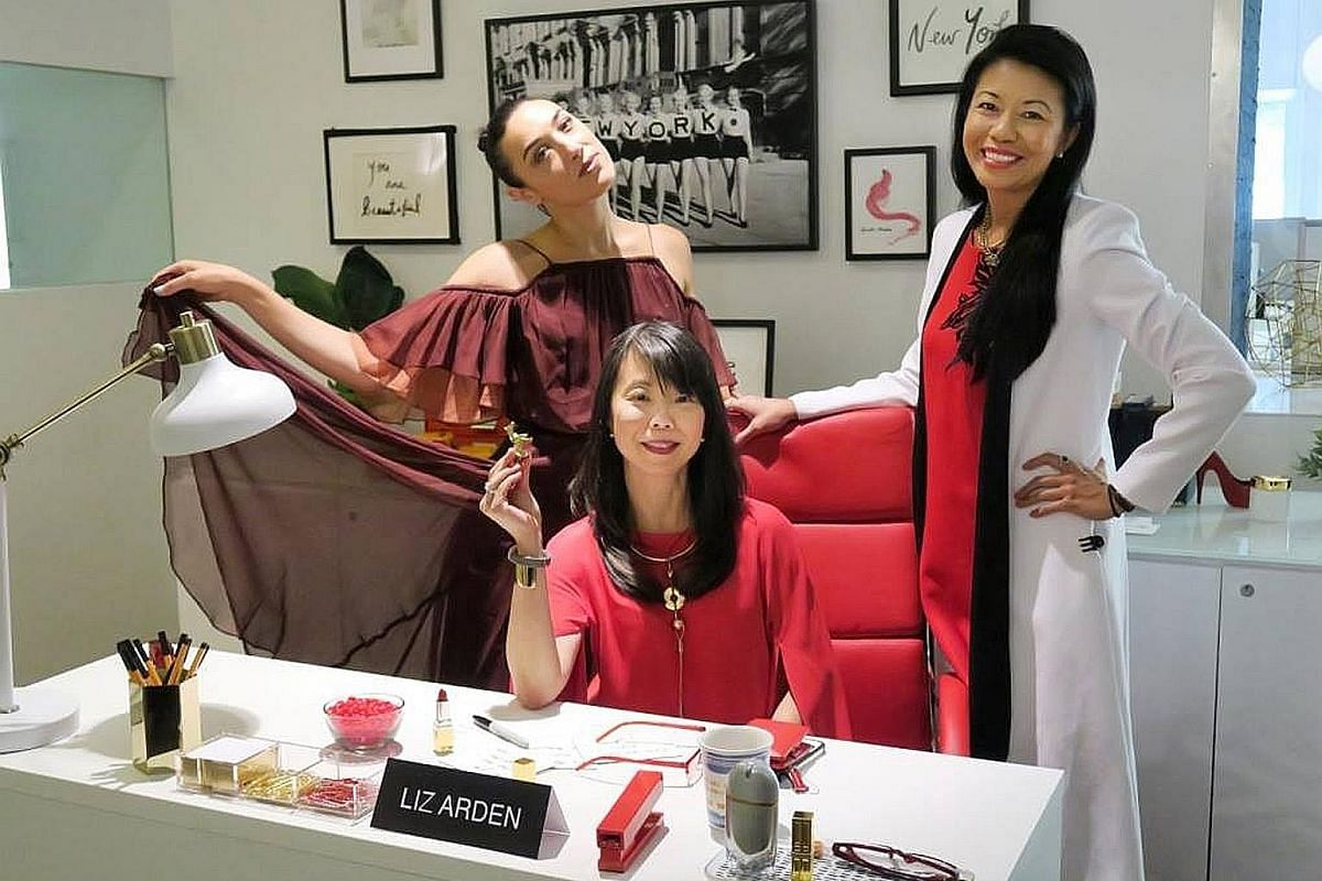 My life so far: Ms JuE Wong when she was two years old and at work with (from left) DJ and influencer Mia Moretti and colleague Swan Sit.