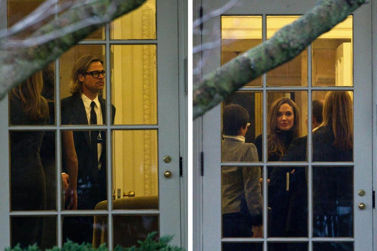 Brad Pitt and Angelina Jolie visit the White House in Washington on Jan 11, 2012.