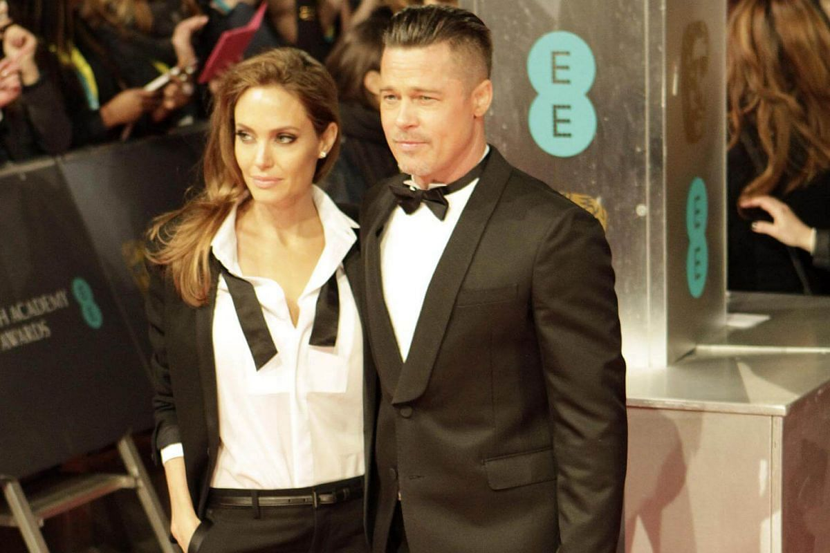 Brad Pitt and Angelina Jolie arrive at the Bafta Awards in London on Feb 16, 2014.
