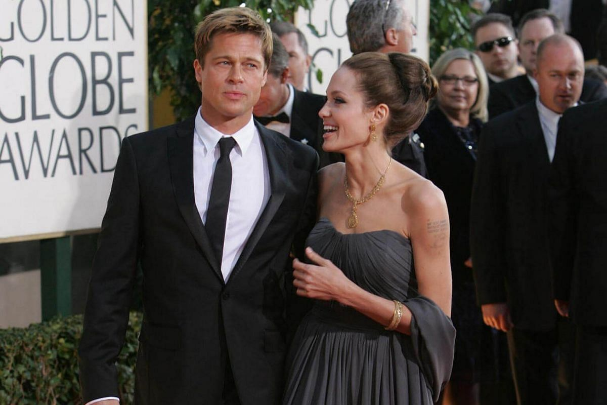 Brad Pitt and Angelina Jolie on the red carpet at the Golden Globe Awards in Beverly Hills, Califonia, on Jan 15, 2007.
